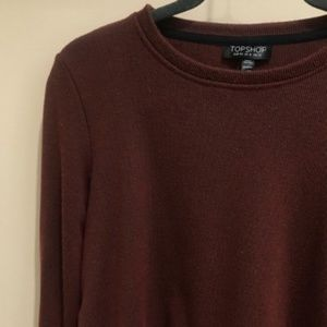 Topshop Maroon Sweater Dress with Unique Back Sz 4